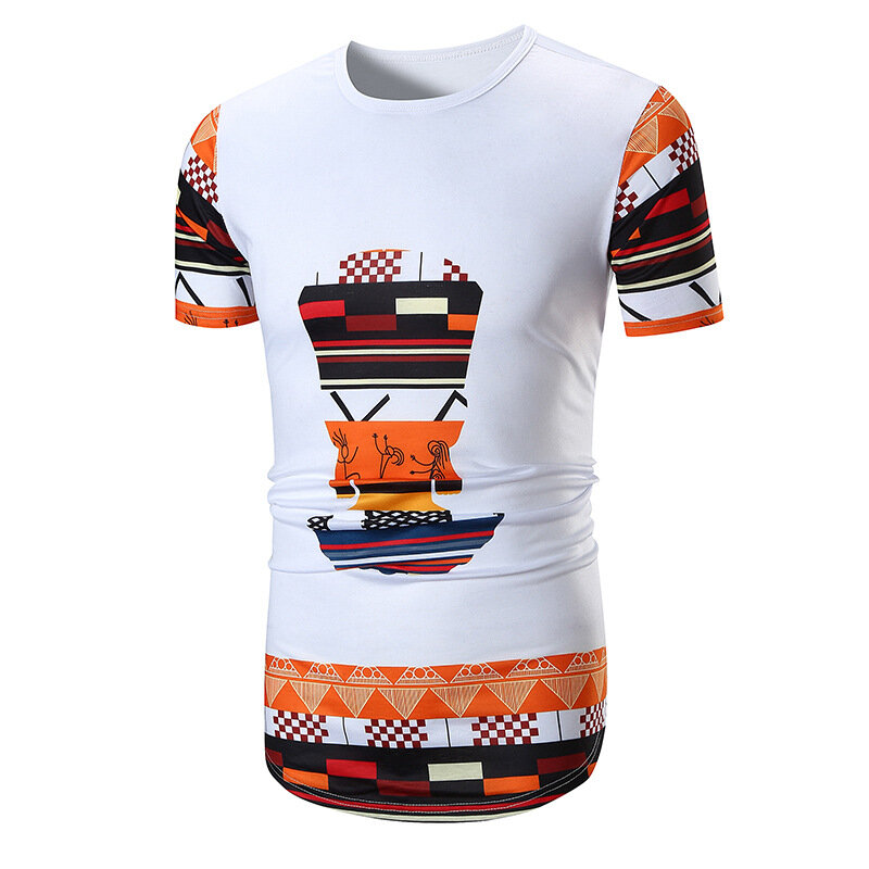 8521dbf89ae Men s Ethnic Style Printing Totem Circular Hem T-shirts Large Size Summer  Casual Short Sleeve Tops T COD