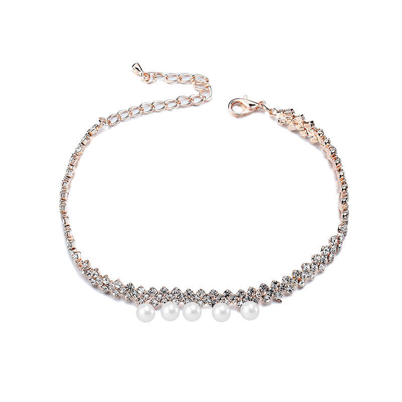 Gold Plated Artificial Pearl Cup Chain Shiny Adjustable Anklet Women Jewelry