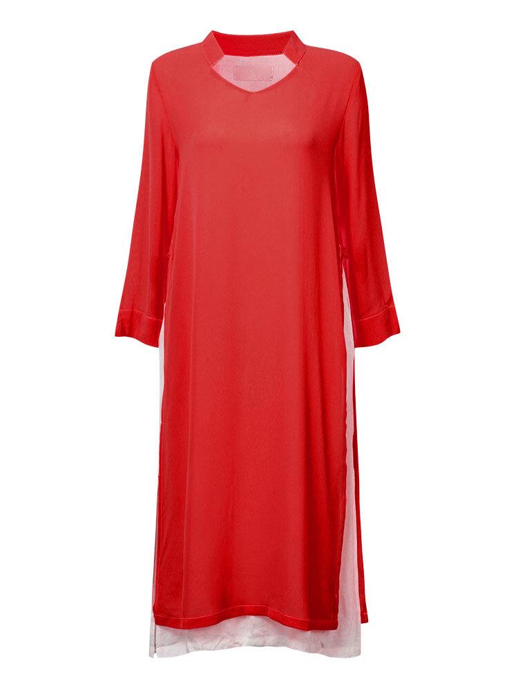 Mulheres casuais separação lateral do vintage vestido longo manga solta