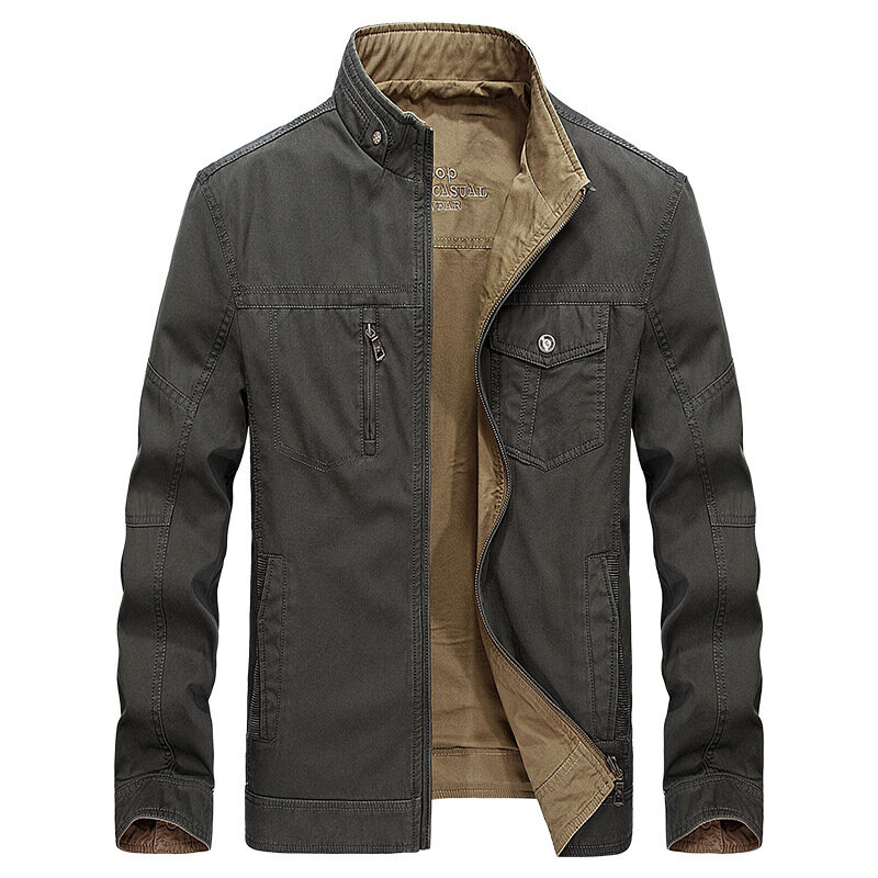 36ac7d29189 Reversible Double Sided Wearable Autumn Cotton Pockets Outdoor Jacket for  Men COD