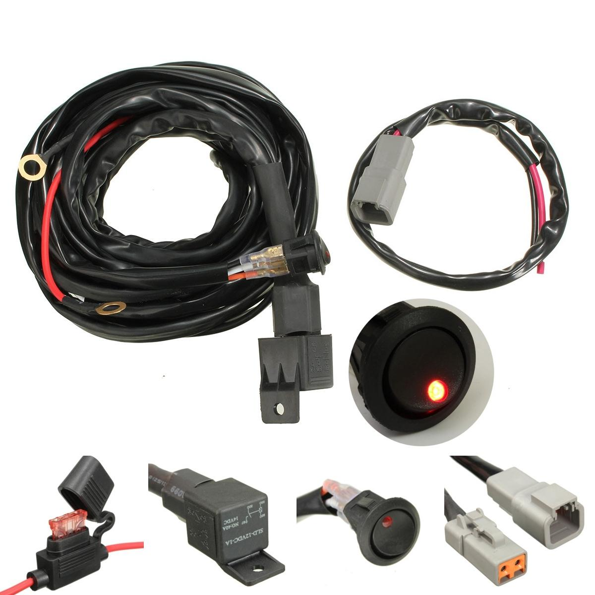 40A Relay 300cm Wiring Harness Kit ON OFF Switch For LED Spot ... on led wiring guide, led spark plug wires, led wiring panel, auxiliary controller wire harness, led wiring kit,