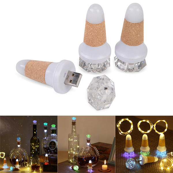 colorful diamond shape usb rechargeable wine cork led bottle light fairy string diy christmas decor