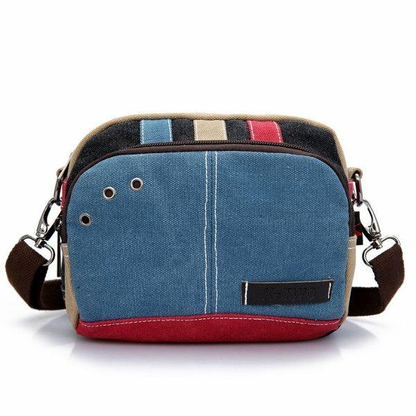 Женщины холст Crossbody мешки контрастного цвета случайные небольшие мешки плеча сумки посыльного