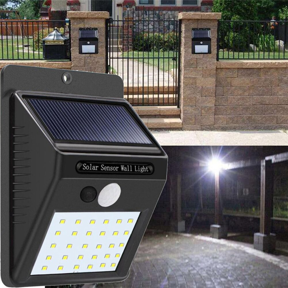 Solar Power 30 Led Pir Motion Sensor Wall Light Waterproof Outdoor Powered Garden Lamp With Path Yard Security