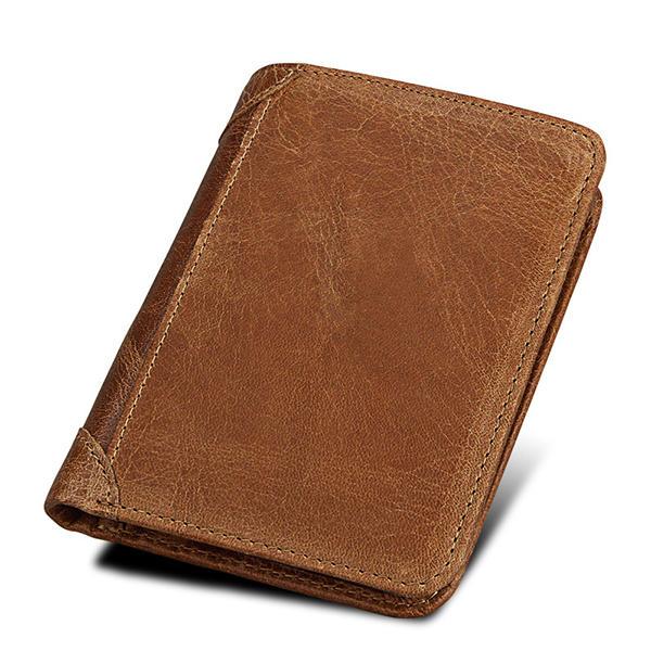 RFID Blokkerende portemonnee Echt leer Grote capaciteit Beveiligde tri-fold portemonnee voor heren