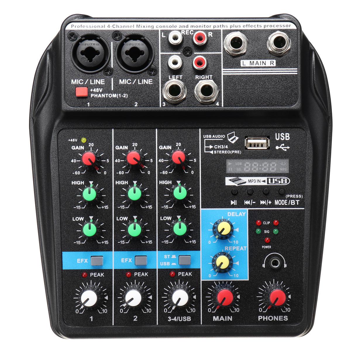 Console de mixage portable USB 4 canaux Enregistrement Bluetooth Live Studio DJ Console de mixage audio