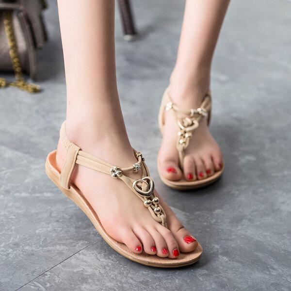 Sandali della Boemia sandali da spiaggia chic cinghia di estate delle donne di vibrazione piana flops