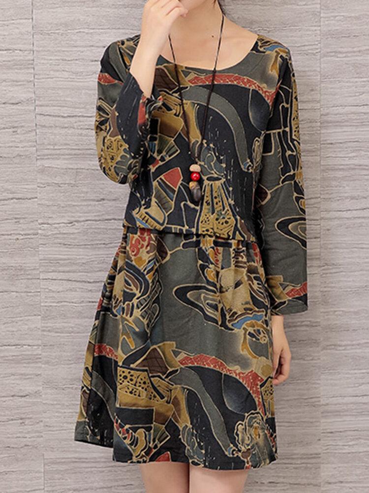 Vintage mulheres floral impresso manga comprida vestidos
