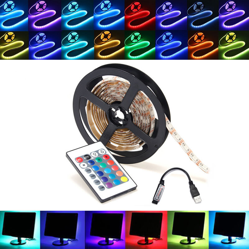 0.5/1/2/3/4/5M RGB SMD5050 LED Strip Tape Light TV Backlilghting Kit + USB Remote Control DC5V