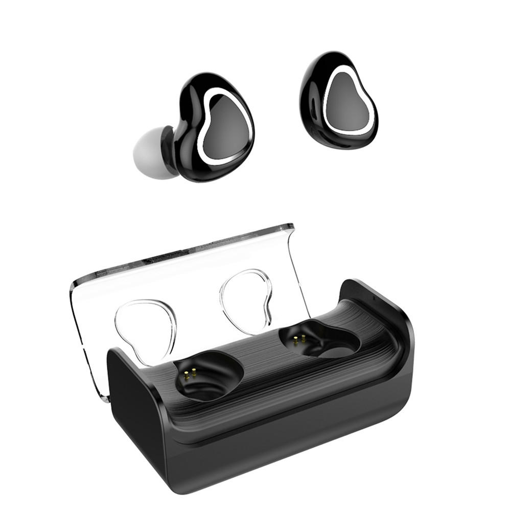 57213134015 [Truly Wireless] bluetooth 5.0 Twins Stereo In-Ear Earphone Earbuds  Lightweight With Charging Case - Black COD