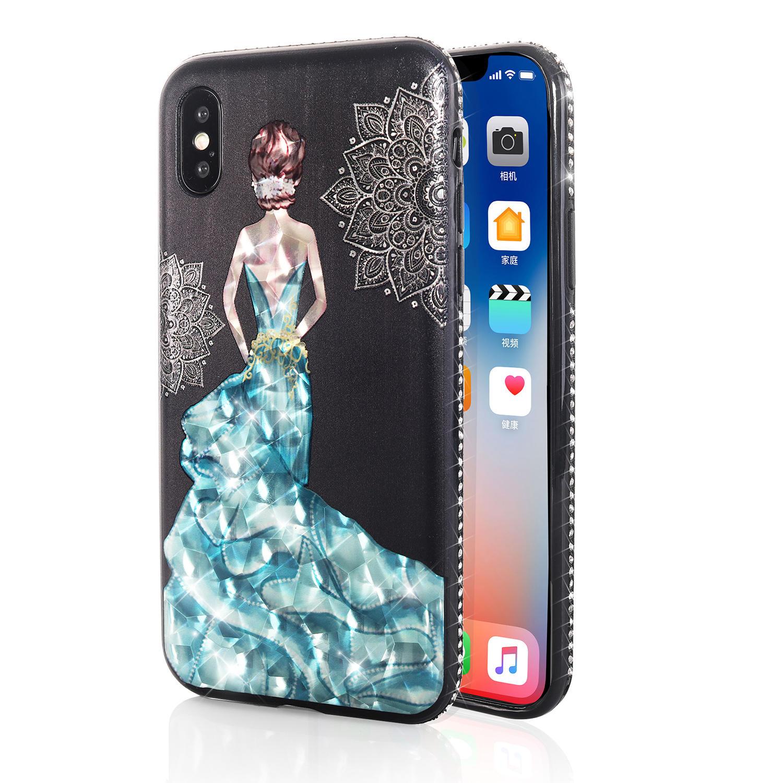 Bakeey 3D Boyama Koruyucu Kılıf iPhone X/8/8 Plus/7/7 Plus / 6s Plus/6 Plus / 6s / 6 Mavi Elbise Parlak Bling