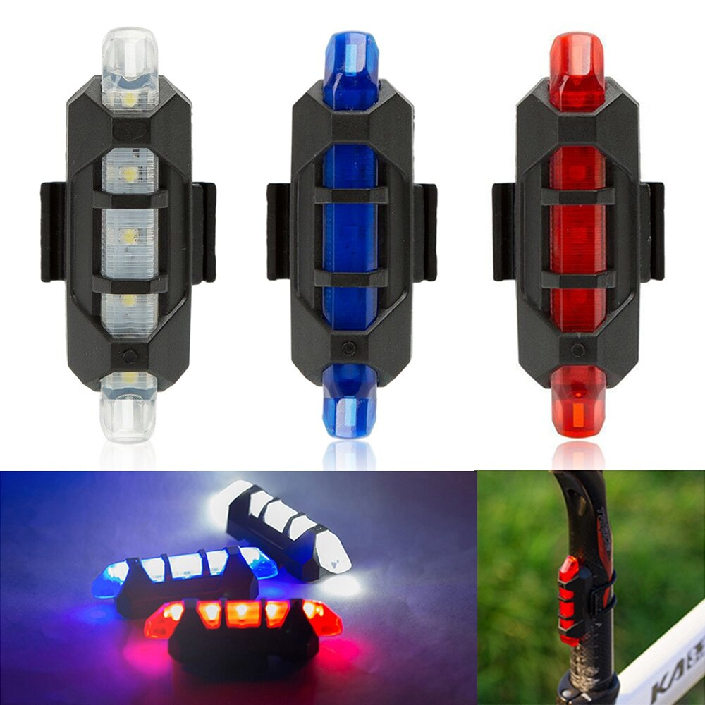 USB دراجة قابلة للشحن LED ذيل ضوء دراجة السلامة تحذير مصباح خلفي