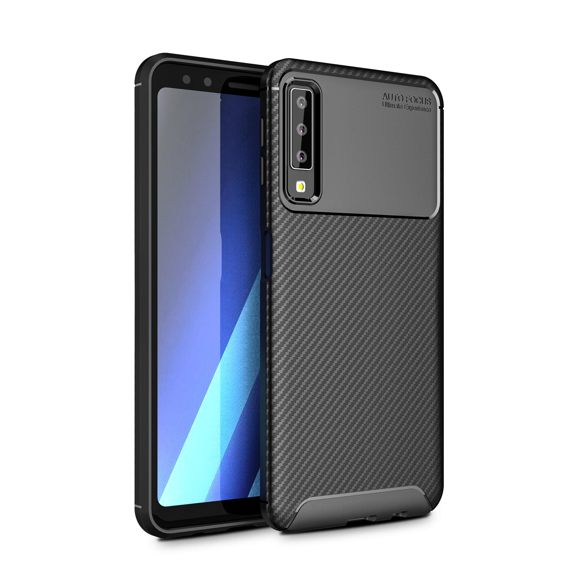 Bakeey Protective Case For Samsung Galaxy A7 2018 Carbon Fiber Fingerprint Resistant Soft TPU Back Cover