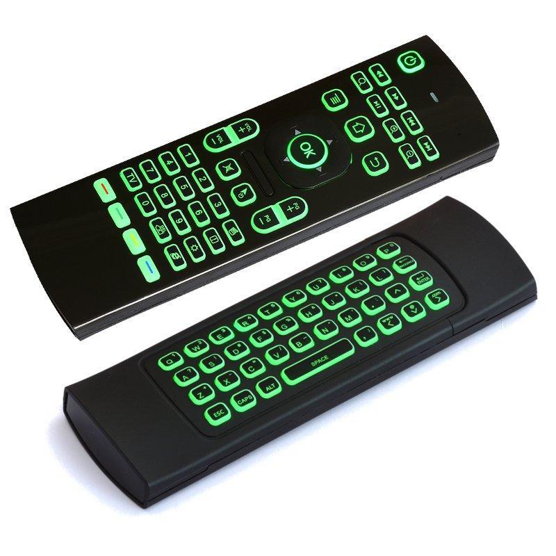MX3 2.4GHZ wireless 7 colori retroilluminati tastiera mouse IR apprendimento remoto controller per Android TV Scatola PC