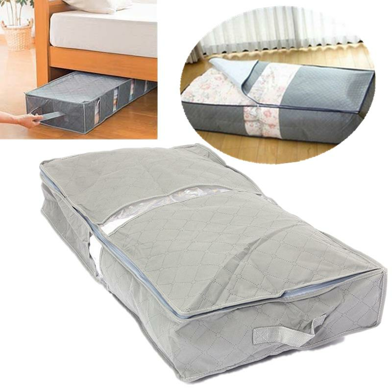 Ipree 75 6 39 12 6cm Under Bed Organizer The Storage Bag Box Gray For Clothes Blankets Cod