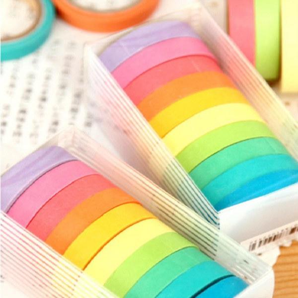 10 rouleaux de bandes de papier autocollant arc en couleur bonbon d coratif pour scrapbook vente. Black Bedroom Furniture Sets. Home Design Ideas