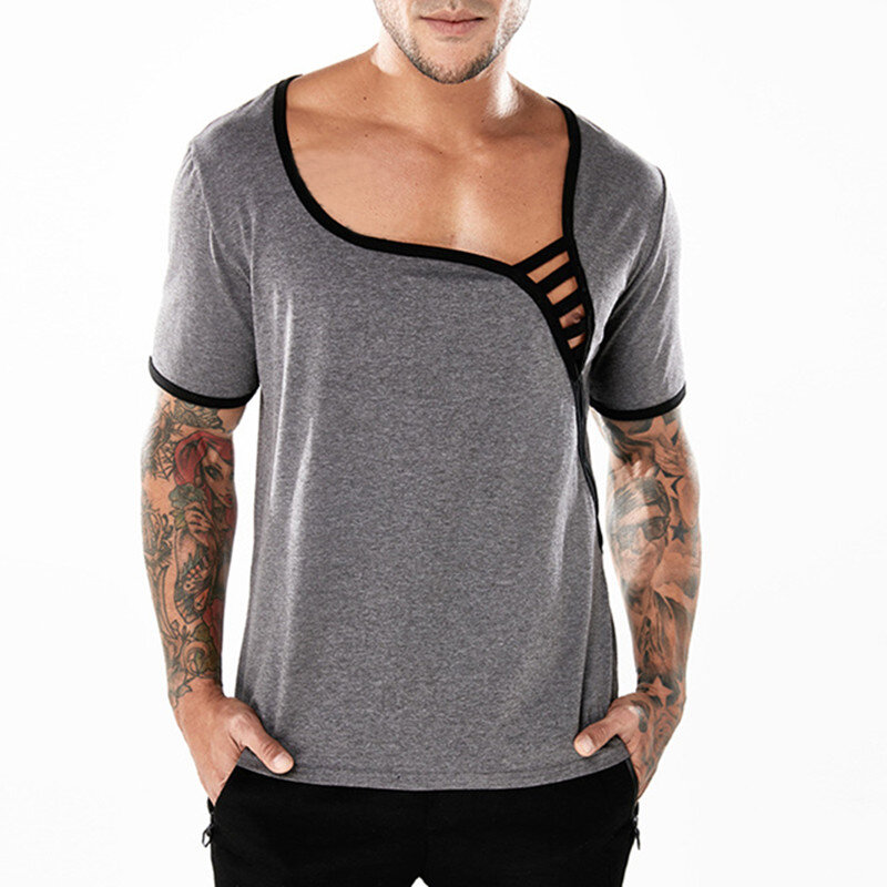 f95f5cc34d9 Men s Fashion Sexy Low Cut Short Sleeve T-shirts Breathable Casual Hollow  Out Tees Tops