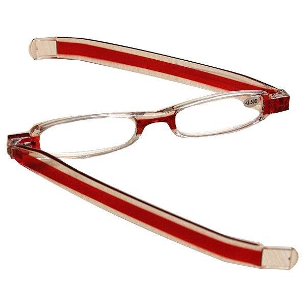 Rotação de 360 graus de rotação vermelho dobrar presbiopia óculos de leitura de força 1.0 1.5 2.0 2.5 3.0 3.5