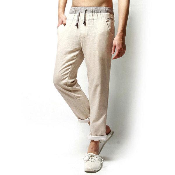 Leinen-Normallack-beiläufige lose Männer-lange Hosen-Flachs-Freizeit-Hosen