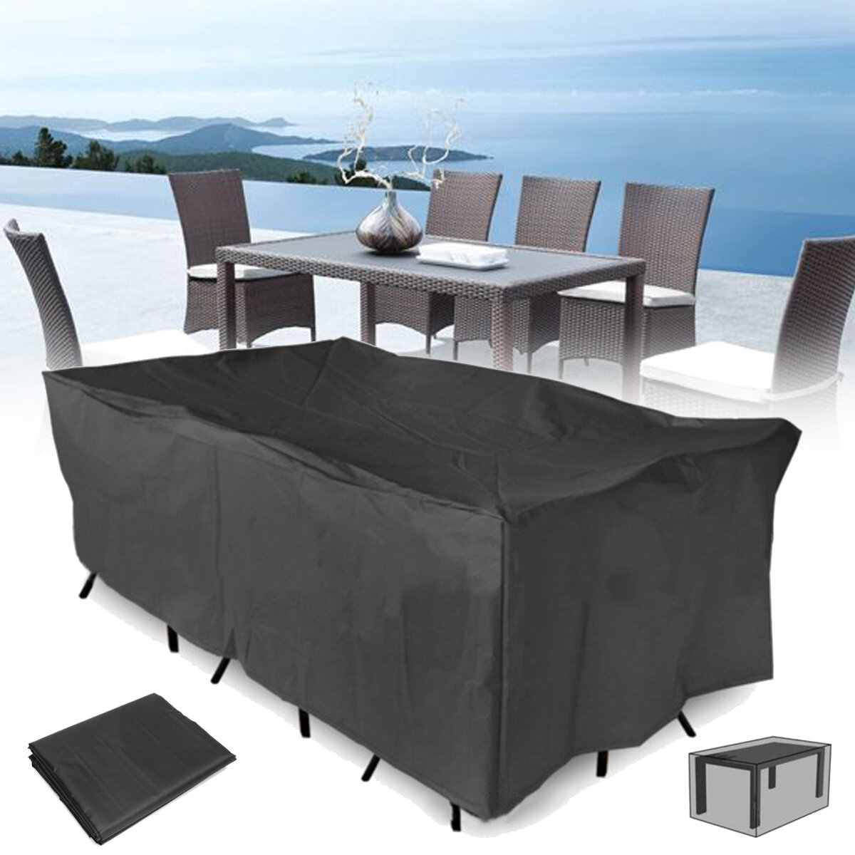 320x220x70cm Outdoor Garden Patio Furniture Waterproof Dust Cover Table Chair Sun Shelter Cod
