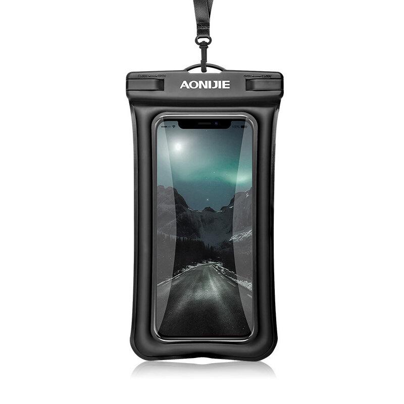 AONIJIE E4104 Touch Screen Waterproof Phone Bag TPU 30m Depth Underwater Phone Dry Bag For iphone Xs Mas/Xs/8P, Huawei P20/P30/Mate9/honor 9, Samsung S8/C7,  Xiaomi Up to 6 Inch Smartphones