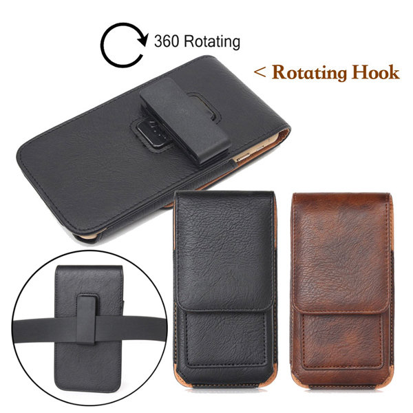 Universal Leather Wallet Card-slot Waist Bag With Rotatable Clip For Phone From 5.0 to 6.3 Inch