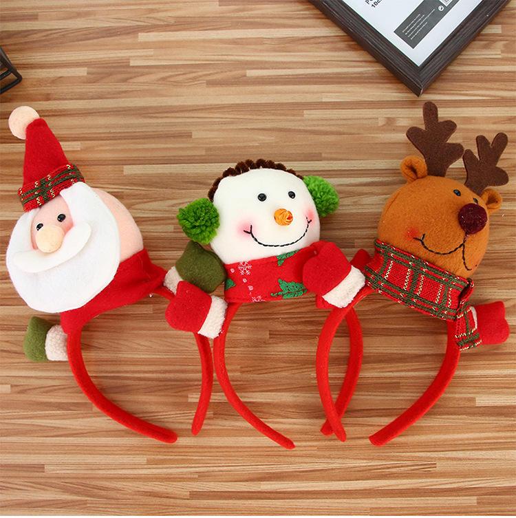 크리스마스 헤드 밴드 순록 뿔 산타 귀 머리 후프 크리스마스 파티 헤어 액세서리 사슴 헤어 버클 장식