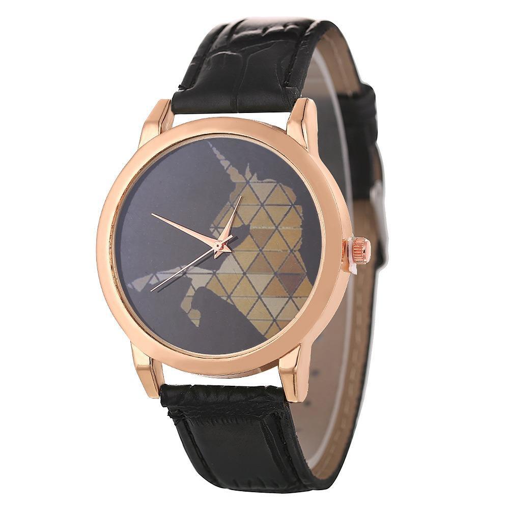DEFFRUN Fashion Childlike Watch Leather Band Unicorn Pattern Casual Men Quartz Watch