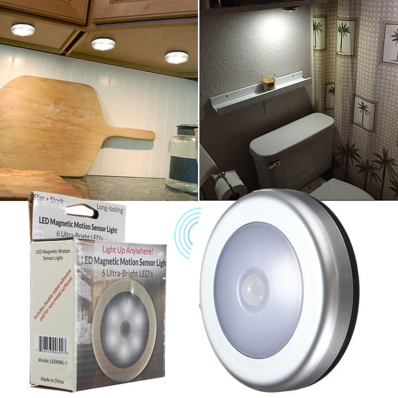 6LED Wireless PIR Motion Sensor Night Light Wall Cabinet Wardrobe Drawer Lamp