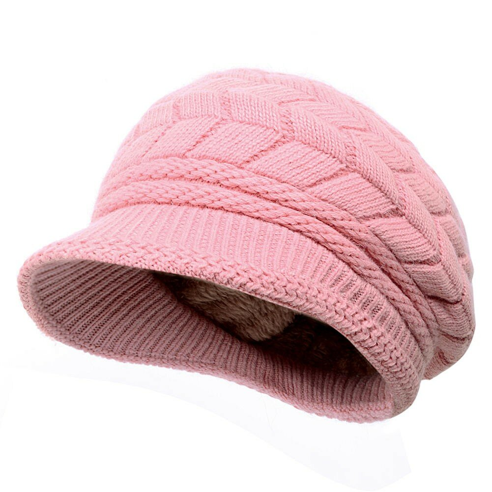 2045862f1 Women Ladies Crochet Knitted Cotton Blend Beret Hat Soft Warm Plush Linen  Ski Baseball Cap