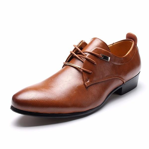89790791759ba4 large size men business dress shoes pointed leather oxfords at Banggood