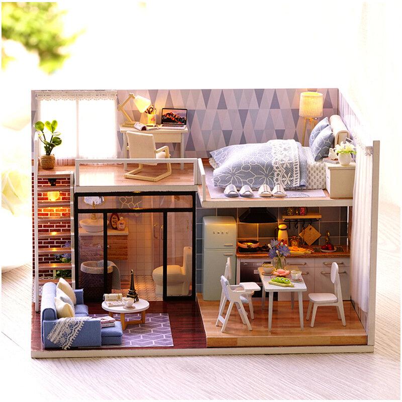 CuteRoom L-023 Temps bleu DIY Maison Avec Décor du Cadeau de Modèle mini des Meubles et de la Couverture et de la musique