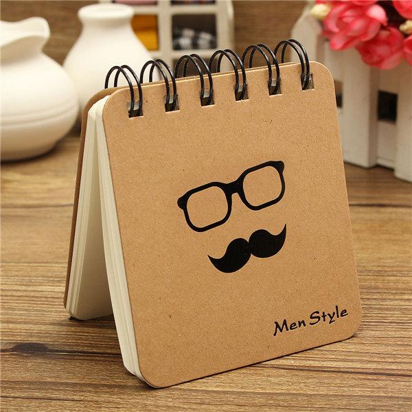 Hard Back Spiral Coil Notebook Pocket Sketch Book Blank Paper Kraft Sketching Paper