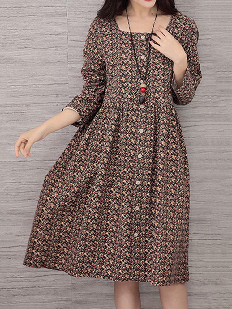 Vintage femmes imprimé floral loose col rond manches longues robe