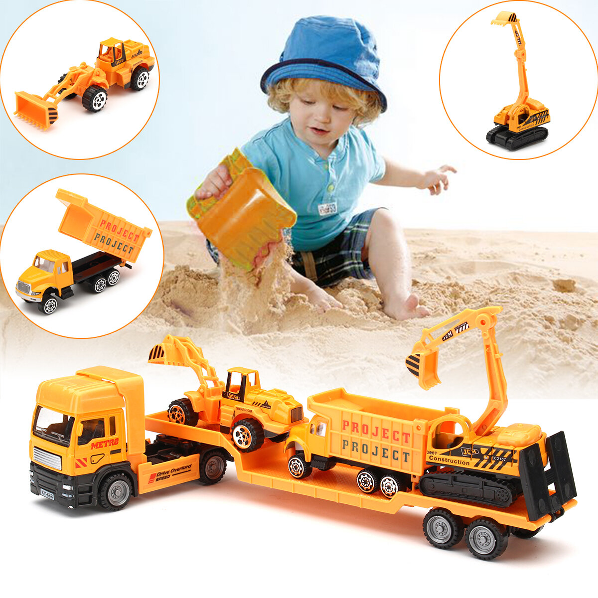 459b9eb18d577 4in1 Kids Toy Recovery Vehicle Tow Truck Lorry Low Loader Diecast Model Toys  Construction Xmas COD
