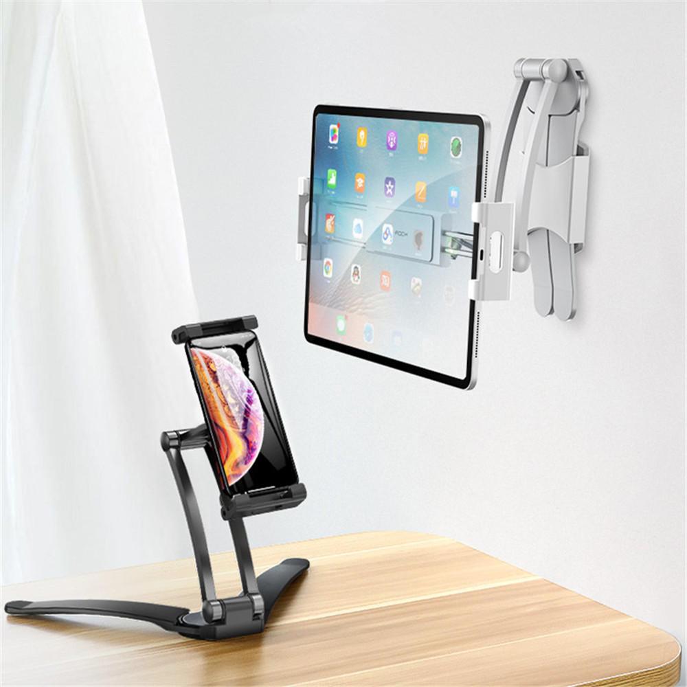 ROCK携帯電話のタブレットのためのアルミ合金のクリップ360度回転壁掛け卓上ホルダー