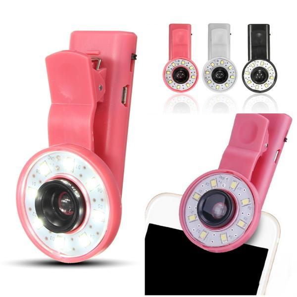 Mini Clip Portable 8 LED Fill Flash Selfie Light For iPhone 6 Samsung