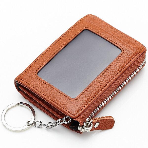 النساء جلد طبيعي المحمولة ريترو مفتاح حقيبة عملات حقيبة بطاقة حامل المحفظة