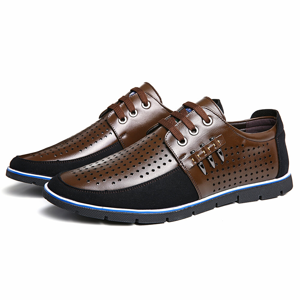 Hombres Piel Genuina Hollow Out Soft Soles Oxfords