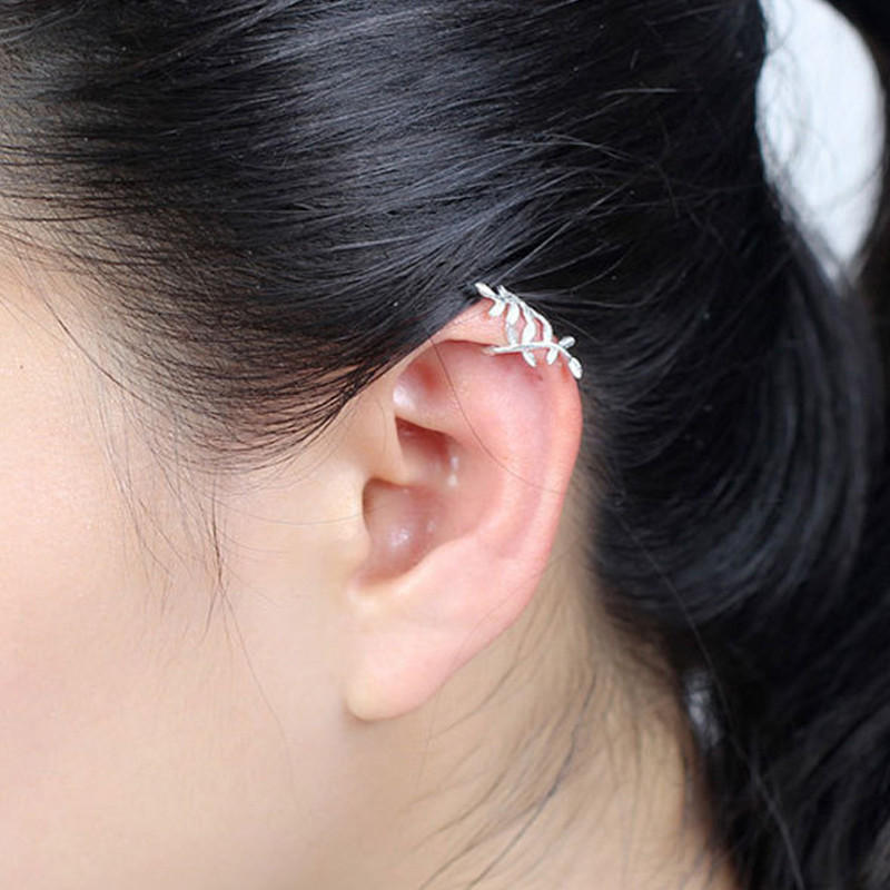 Fashion 925 Sterling Silver Wrap Leaf Cartilage Earrings No Piercing Ear Climber Earring For Women As Picture Cod