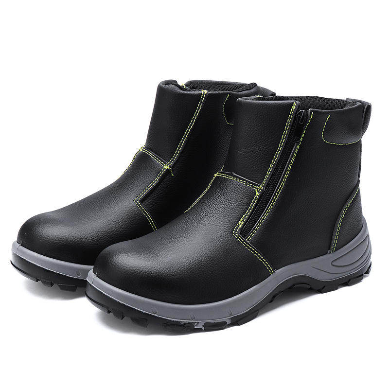 lens Men's Safety Steel Toe Non-Slip Zipper Boots Waterproof Outdoor Welding Work Shoes