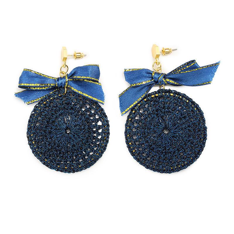 Ethnique bowknot plaque ronde Charm Dangle boucles d'oreilles tressées Vintage Piercing Stud Earring pour les femmes