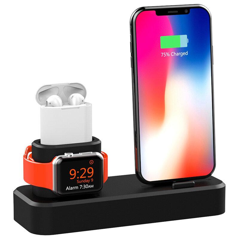 Soporte de soporte para teléfono de la estación de carga 3 in1 para iPhone XS Max XS XR Apple AirPods Apple Watch Series 1 2 3 4