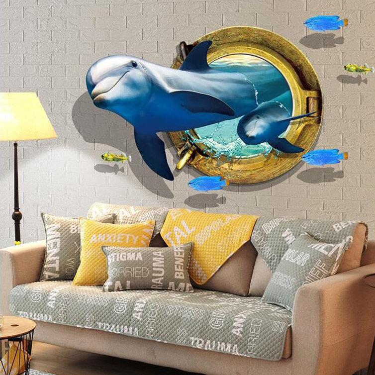 Miico Creative 3D Dolphin Window Sea Fishes PVC Removable Home Room Decorative Wall Door Decor Sticker