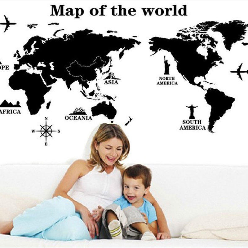 World Map Black Wall Stickers For Kids Rooms Study Room Removable
