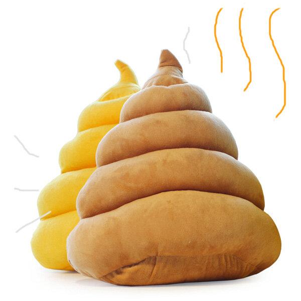 Funny Creative Brown Yellow Poo Shape Throw Pillow Bed Sofa Chair Plush  Cushion