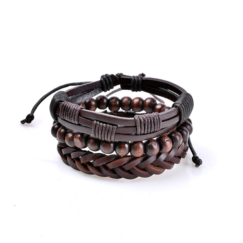 3 Pcs Men's Leather Bead Braided Bracelet Multilayer Bangle Wristband Vintage Male Jewelry