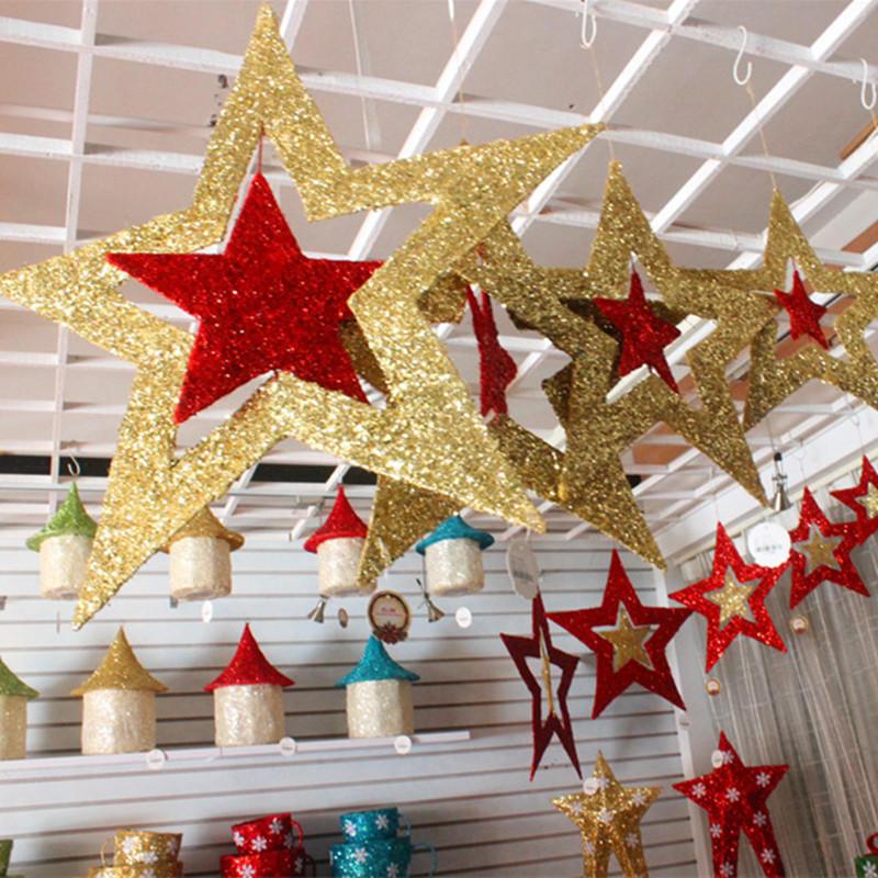 Christmas Ornaments Shiny Star Xmas Tree Ceiling Wall Hanging Decoration