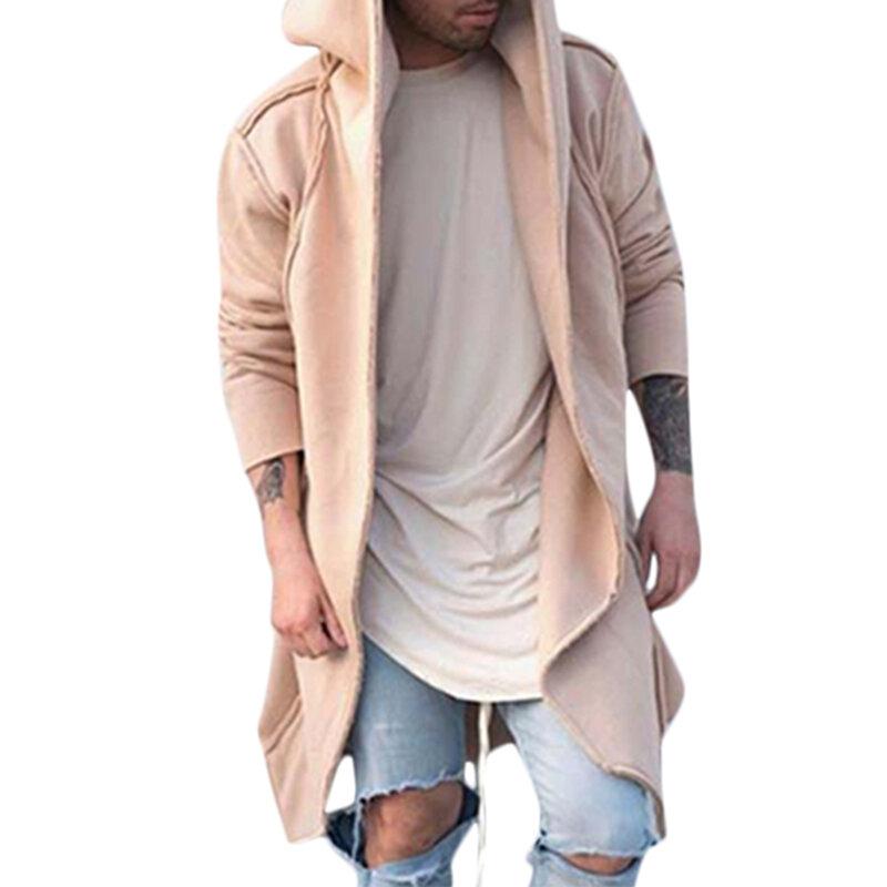 ChArmkpR Moda para hombre Dobladillo irregular Color liso Mediano largo Con capucha Chaquetas sueltas