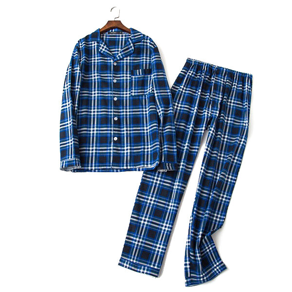 Mens Plaid Printing Bomull Andas Vårhöst Hem Casual Sleepwear Set
